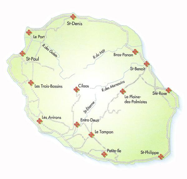 carte region la reunion