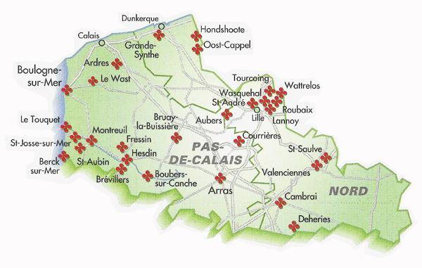 Carte Nord Pas De Calais Avec Villes.Nord Pas De Calais Villes Et Villages Fleuris Carte Des
