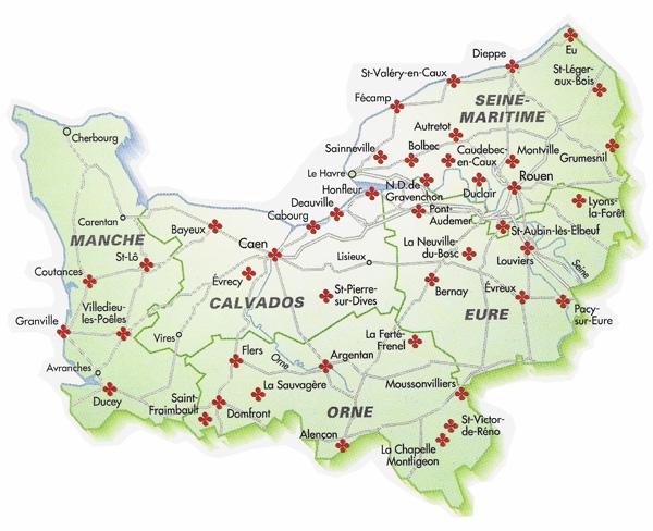 Normandie villes et villages fleuris carte des communes for Haute normandie carte