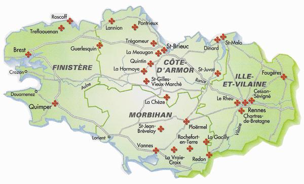 Villes et villages fleuris de bretagne carte des communes - Office de tourisme de grande bretagne en france ...