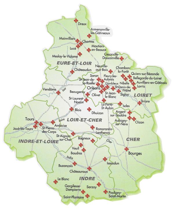 Villes r gion centre voyages cartes for Region loiret